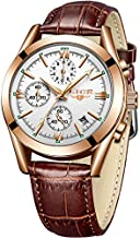 LIGE Mens Watches Fashion Leather Analog Quartz Watch Men Dress Business Date Wristwatch Men's Waterproof Chronograph Sport Clock Gold Brown Casual Watch Men