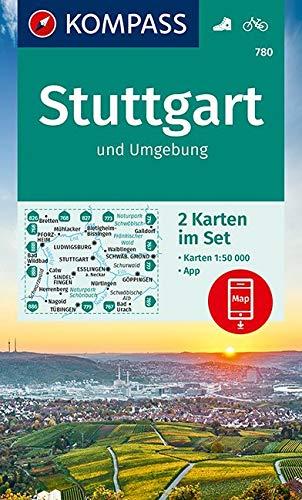 KOMPASS Wanderkarte Stuttgart und Umgebung: 2 Wanderkarten 1:50000 im Set inklusive Karte zur offline Verwendung in der KOMPASS-App. Fahrradfahren. (KOMPASS-Wanderkarten, Band 780)