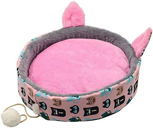 YAOSHUYANG Cama para mascotas, perrera para perros, forma de gato, cálida en invierno, caseta gruesa para gatos, cama para perros pequeños, sofá para perros y gatos, color rosa