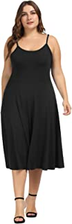 Women's Plus Size Adjustable Spaghetti Straps Stretch Slip Midi A-line Dress