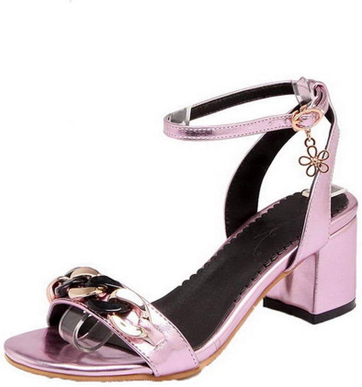 WeiPoot Women's Pu Buckle Open-Toe Kitten-Heels Solid Sandals, EGHLH007930