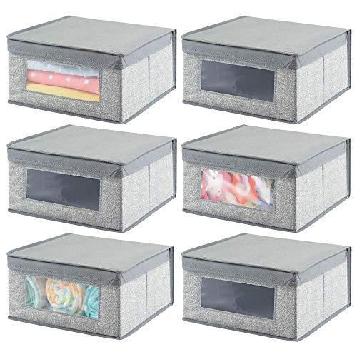 mDesign Juego de 6 Cajas de Tela apilables para Ropa y más – Cajas con Tapa Medianas y con Ventana Transparente – Organizador de armarios con Estampado Estructurado para Dormitorio o Pasillo – Gris