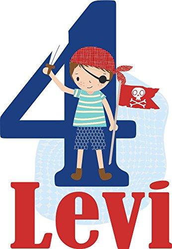 wolga-kreativ Bügelbild Applikation Aufbügler 1 2 3 4 5 6 Geburtstag Pirat Name Buchstaben Zahl Junge zum selbst Aufbügeln A5 Geburtstagsshirt Kindergeburtstag Bügelbilder Kinder