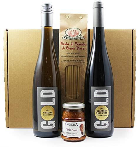 Wein Geschenkpaket | Jungwinzer Weine mit Pasta und Pesto - Leon Gold