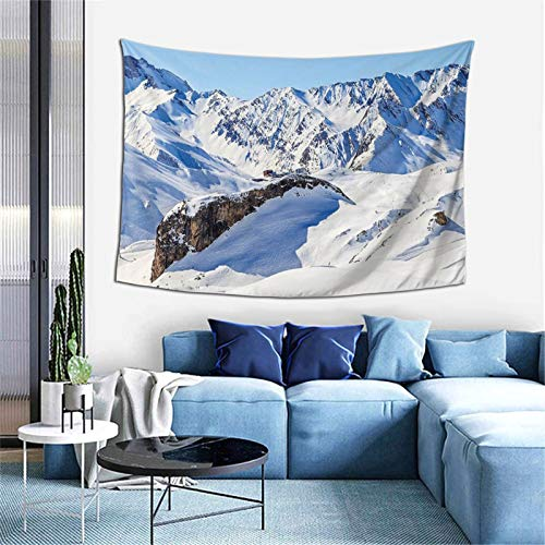 Tapiz de invierno nevado en alfas bajo cielo claro para dormitorio sala de estar dormitorio decorativo 156 x 100 cm