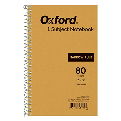 Ampad Single Wire Notebook, 8 x 5, 1 Subject, Tan Cover, Narrow Ruled, Greentint, 80 Sheets Per Notebook (25-401)