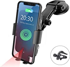 NPET Wireless Car Charger Mount, Qi 10W Fast Charging Automatic Clamping Windshield Phone Mount Dashboard Holder for Qi-Enabled Cell Phones iPhone 11/Xs/Max/XR/X, Samsung Galaxy Note 10/s10/9/ S9/