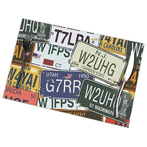 Mantel Individual Alfombrilla de mesa Vintage Original Estilo retro Placas de matrícula Viajes creativos personalizados Vacaciones Verde Azul Amarillo Alfombrilla de mesa 30X45CM