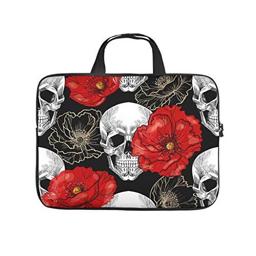 White Skull Calavera Red Poppy 3D Print Laptop Bag Protective Case Waterproof Neoprene Laptop Sleeve Bag Funny Notebook Bag Sleeve Case for Laptop Computer