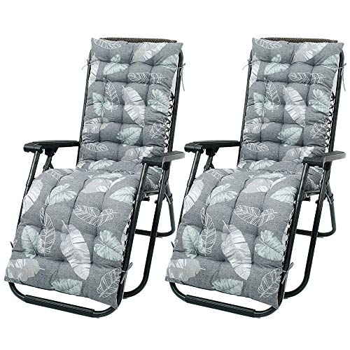 2 pcs Sun Lounger Cushions Rocking Chair Cushion Set Thick Chair Pad Sunbed Cushion Cover Chaise Longue Cushion Lounge Chair Pads Garden Relaxer Reclining Chairs (2 pcs)