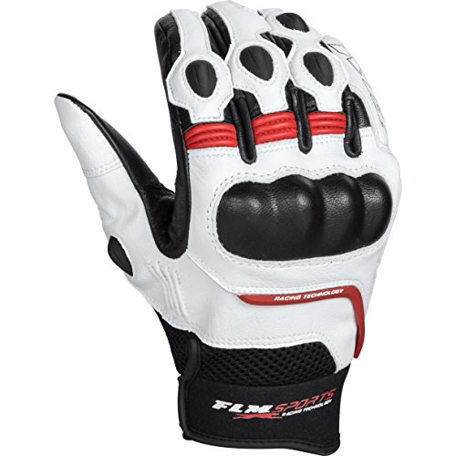 FLM Motorradhandschuhe kurz Motorrad Handschuh Sports Lederhandschuh 5.0 rot 9, Herren, Sportler, Sommer