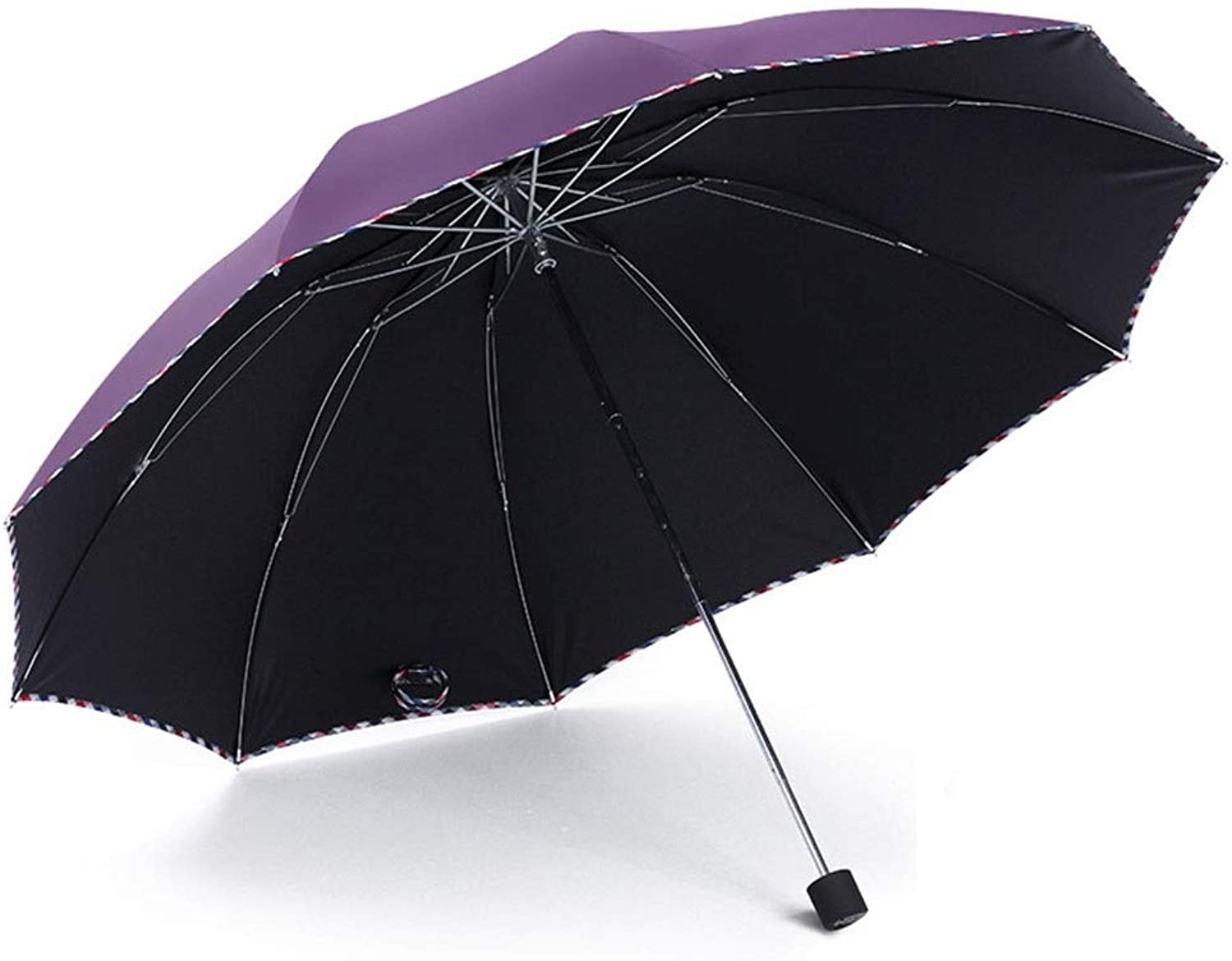 JBFZDS Pure color Umbrella, Foldable Three Fold, Sun Predection UV Predection, Sunshade for Men and Women, Can Accommodate Two People (color   Purple)
