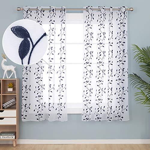 Deconovo Visillos para Ventanas Gasa Efecto Lino Cortina Transparente para Habitación Bebe Infantil 2 Paneles 140 x 183 cm Azul Marino