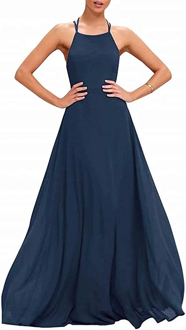 Halter Forest Green Chiffon Bridesmaid Dresses Strappy Formal Prom Juniors' Dresses Boho Maid of Honor Gowns