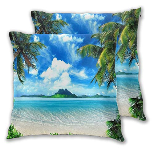ELIENONO Square Cushion Cover 55x55cm 2 pieces Set,Summer Beach Blue Ocean With Coconut Palm Tree,decorative Throw Pillow Case for Couch Sofa Chair Bed Home office Decor