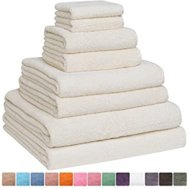 Fast Drying Extra Large Bath Towel Set, Decorative & Luxury Premium Turkish Cotton Towels for Clearance - Spa & Hotel Quality - Pack of 8 Including 2 Oversized Bath Sheets (30x60) - Ivory