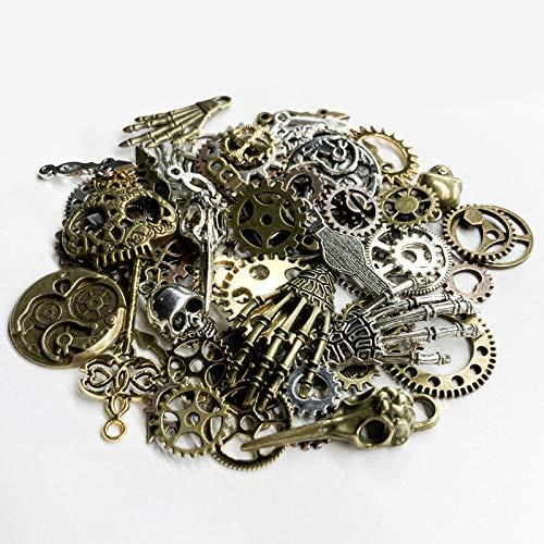 KIMI-HOSI 76 Piezas Steampunk Engranajes Esqueleto Encantos Reloj Rueda Engranaje Antiguo para...