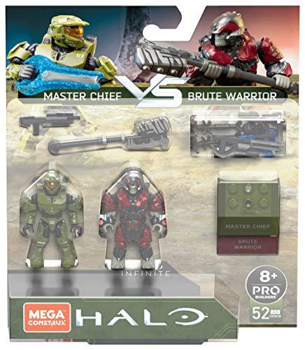 Mega Construx Halo, coffret bataille Master Chief vs. Brute Warrior à construire, 52 pièces, jeu de briques de construction, 8 ans et plus, GNW38