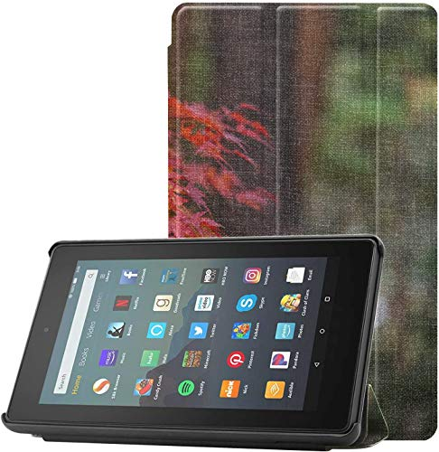 Cover CaseFire7 Scorch Beautiful Maple Leaves Fire7ProtectorCase for Fire 7 Tablet (9th Generation, 2019 Release) Lightweight with Auto Sleep/Wake