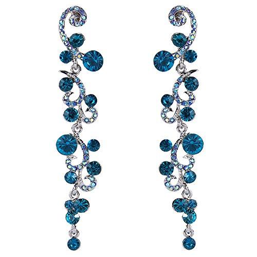 EVER FAITH Mujer Cristal Pendientes Colgante Boda Flor Oleada Azul Tono Plateado