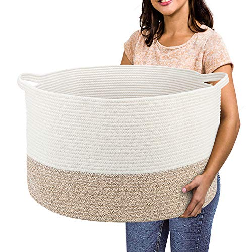 RUNKA Extra Large Storage Basket 22' x 14', Soft Woven Large Basket with Handles,Extra Large Basket and Organizer for Laundry, Toys, Books and Baby Blankets
