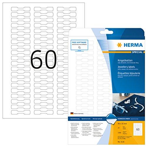 Herma 5116 - Paquete de 1500 etiquetas adhesivas (49 x 10 mm, especiales para joyería), color blanco mate