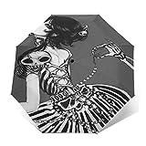 SUHETI Paraguas automático de Apertura/Cierre,Una Mujer Hermosa y Elegante con un Vestido Hecho de Calaveras,Paraguas pequeño Plegable a Prueba de Viento