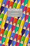 Notizbuch A5 Muster ABC Grundschule Schule School Stifte Stfit Bunt Malstift: • 111 Seiten  • EXTRA Kalender 2020 •  Einzigartig •  Dotgrid •  Dotted •  Punktraster  • Geschenk • Geschenkidee