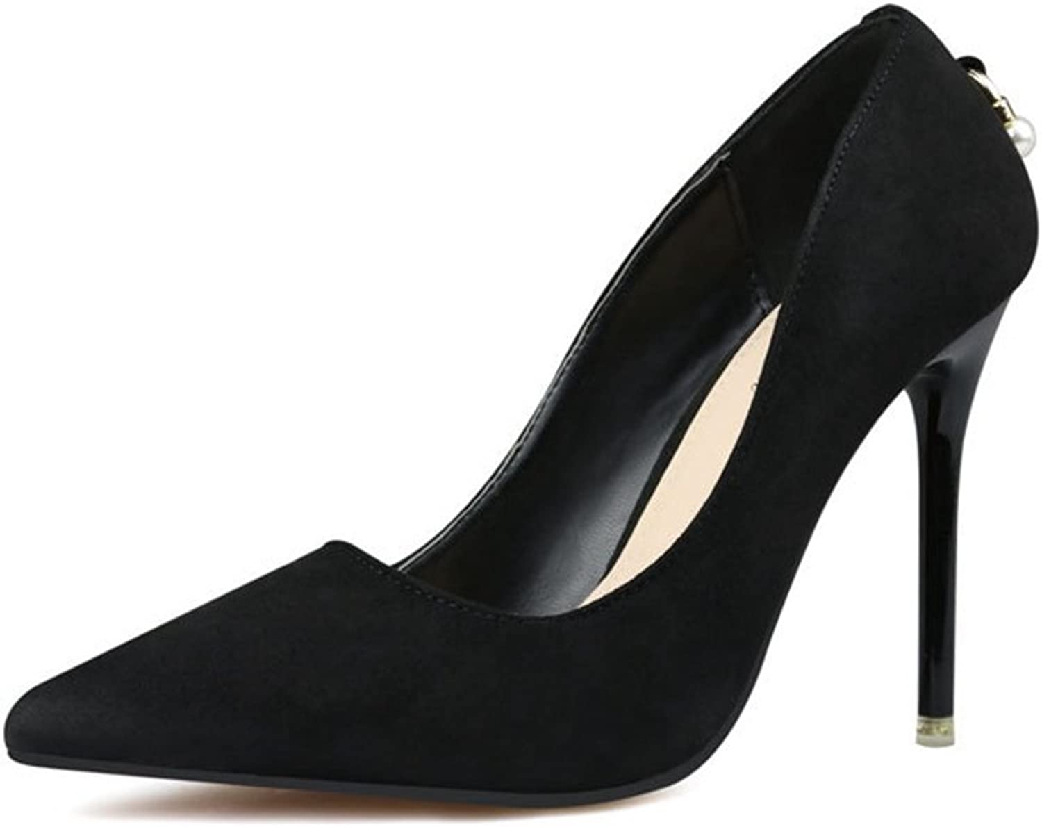 CYBLING Fashion Women Slip On Pointed Toe Stiletto Heels Dress Pumps for Wedding shoes