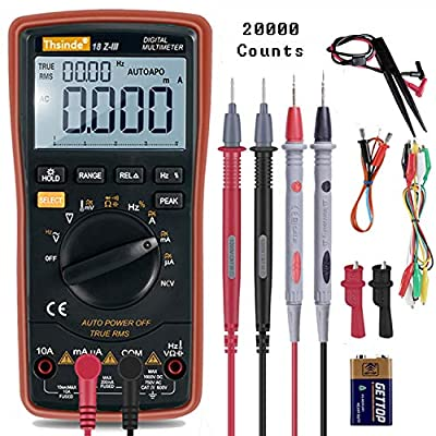 Auto Ranging Digital Multimeter TRMS 6000 with Battery Alligator Clips Test Leads AC/DC Voltage/Account,Voltage Alert, Amp/Ohm/Volt Multi Tester/Diode