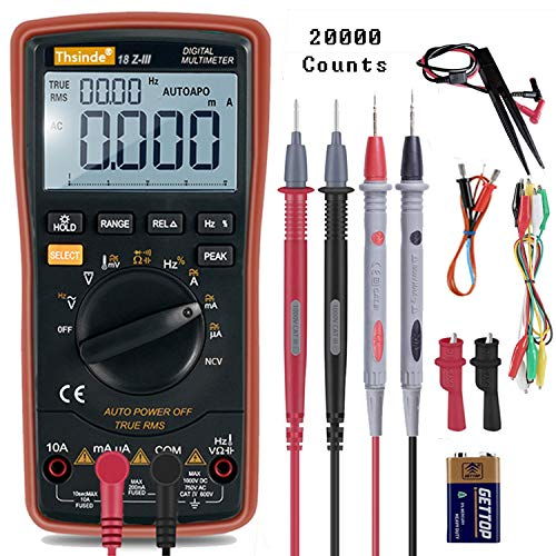 Auto-Range Digital Multimeter 20000 Counts DC AC Resistance Capacitance Peak Hold True RMS NCV Diode Tester