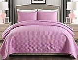 JML Quilt King Size Set 3-teiliges Tagesdecke-Set mit Kissenbezügen, weiche gebürstete Mikrofaser, leicht, hypoallergen, für alle Jahreszeiten geeignet, 233,7 x 264,2 cm, Pastell-Lavendel