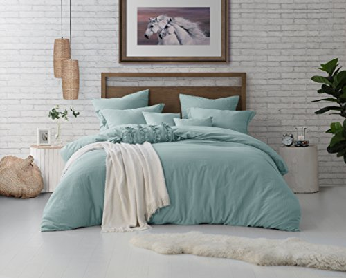 Swift Home Microfiber Washed Crinkle Duvet Cover & Sham (1 Duvet Cover with Zipper Closure & 2 Pillow Shams), Ultra-Soft – King/Cal King, Dusty Mint(Comforter NOT Included)…