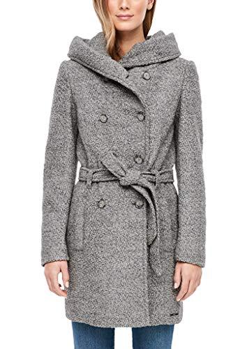 s.Oliver RED Label Damen Bouclé-Mantel mit Kapuze Grey Melange 40