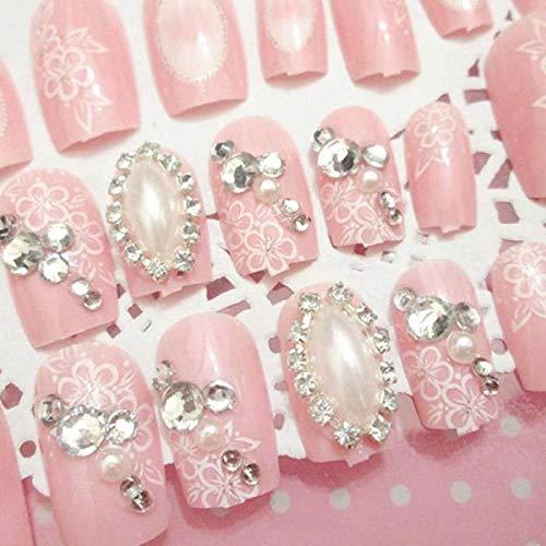 CLOAAE Pink Color Flower Printing Artificial Nails Girls Simulation Pearl Finish Fake Nail Bride Fashion Shining Rhinestone False Nails