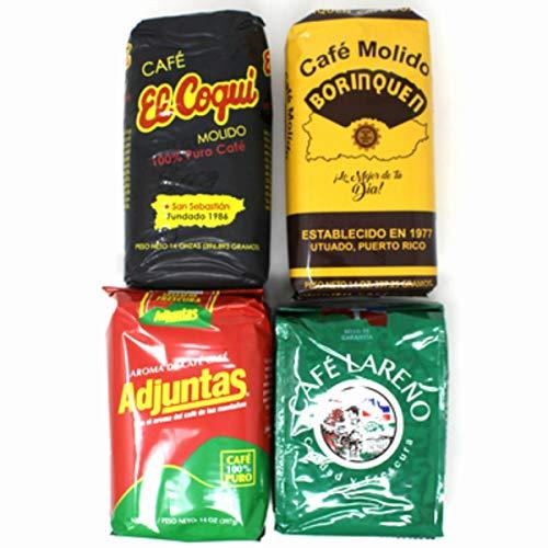 Bold Puerto Rican Coffee Variety Mix - Cafe Borinquen, Cafe Coqui, Cafe Lareno, Cafe Adjuntas (1 - 14oz pack of each)
