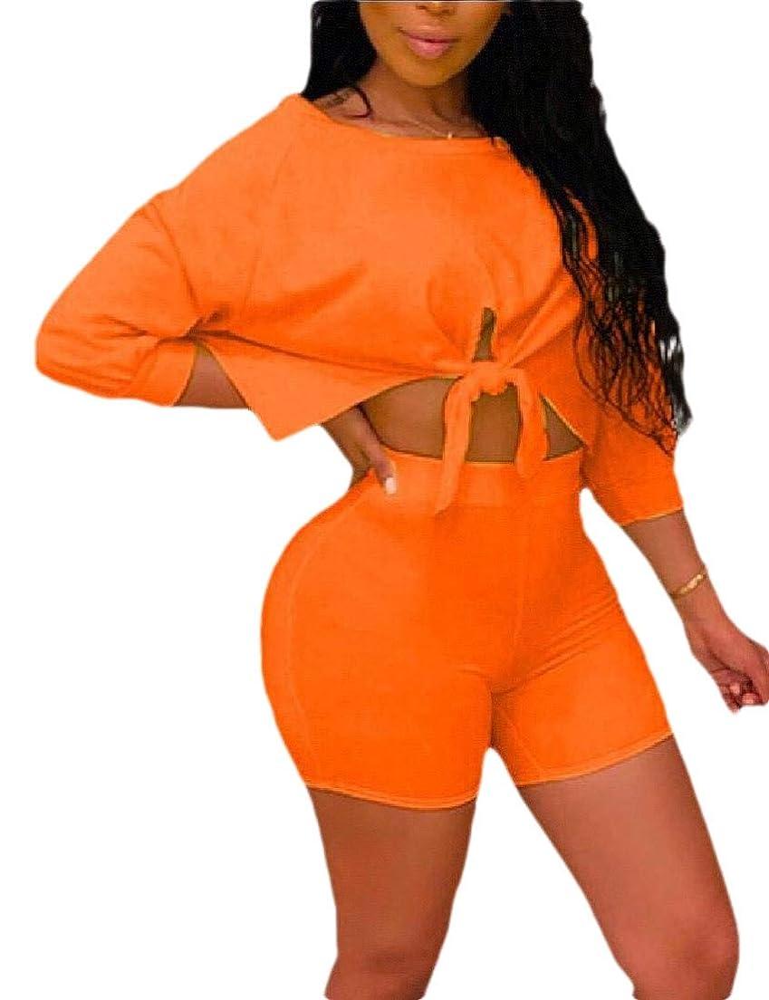 性的スラム街盟主Women's Short Sleeve Crop Top and Short Pants Two Piece Tracksuit Set
