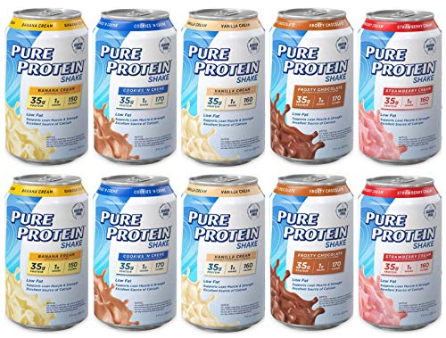 Pure Protein Ready to Drink, Meal Replacement High Protein Shakes, 5 Flavor Variety Sampler Pack 11oz (Pack of 10)