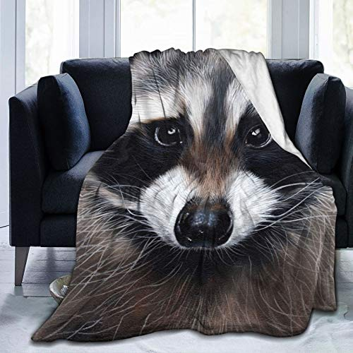 Foruidea Funny Raccoon Flannel Throw Blanket Bed Blanket as Bedspread/Coverlet/Bed Cover Soft, Lightweight, Warm and Cozy 40x50 inch for Boys Girls