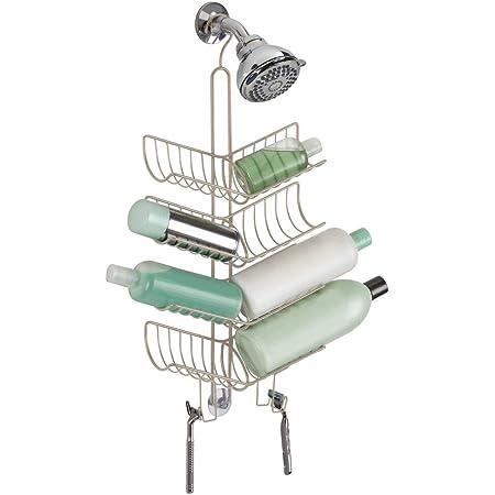 Duschkorb zum H/ängen aus rostbest/ändigem Metall f/ür s/ämtliches Duschzubeh/ör mDesign Duschablage zum H/ängen /über die Duscht/ür praktisches Duschregal ohne Bohren mit Saugn/äpfen bronze