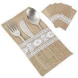 Enjoygoeu 30 Stück Bestecktasche Jute Hochzeit Vintage Sackleinen Spitze Besteck Tasche Besteckbeutel Tischdeko für Party Hochzeit Weihnachten