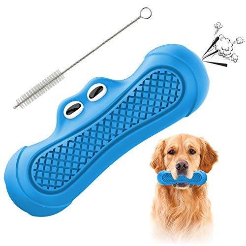Pawcute Dog Squeaky Toys for Aggressive Chewers, Durable Dog Chew Toys Indestructible, Puppy Chew Toy Dog Toothbrush Toys for Small Medium Large Dogs Dental Care Teeth Cleaning (Blue)