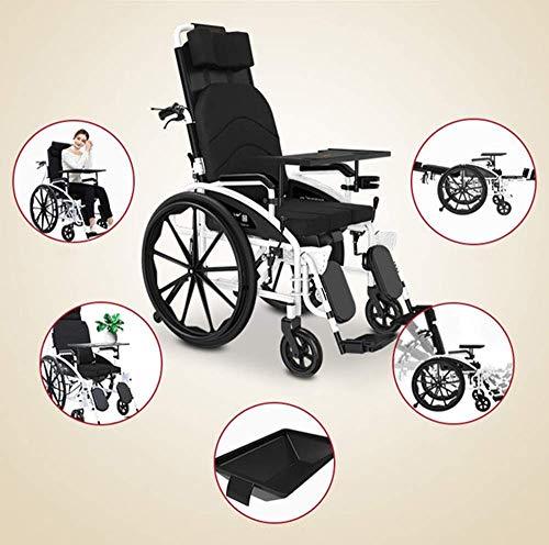 GFF Rollstuhl, zusammenklappbar, 24 kg, Beinkontrolle, Rückenlehne, Halb liegend, 150 kg Tragkraft, 47 x 40 cm, abnehmbarer Tisch und Toilettenstuhl