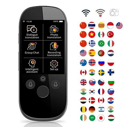 MMYJ 2.4 Pulgadas Portátil WiFi Inteligente Traductor de Voz 45 Idiomas Dispositivo de Traducción Apoyo Foto, Transcripción y 12 Traducción Offline Simultánea en Tiempo Real para Viajes
