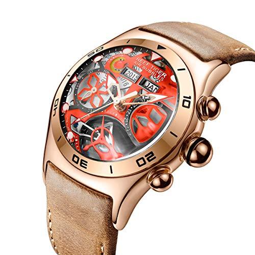 REEF TIGER Homme Analogique Automatique Montres avec Bracelet en Cuir RGA703-YBB