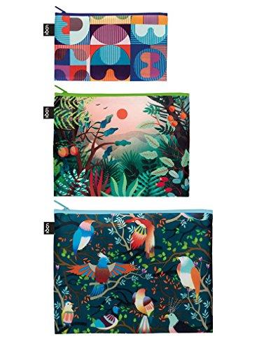 LOQI Artist Hvass&Hannibal Grid, Arbaro, Bird Zip Pockets Personalausweishülle, 32 cm, Mehrfarbig (Multicolour)