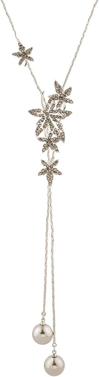 Merdia Elegant Women Lady Filigree Leaf Long Chain Necklace for Women Created Pearl Necklace