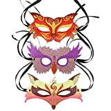 DIY Diamond Paintings Masquerade Party Mask 3 Pieces Tiger Fox Owl Shiny Special Shaped Crystal Handicrafts, Mosaic Make Suitable for All Kinds of Party Kids Women and Men