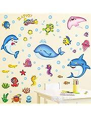 JZLMF Avtagbara väggklistermärken tecknad ocean fisk vardagsrum badrum toalett barnkammare förskola djurklistermärken klistermärken