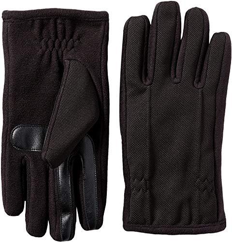 Isotoner Men's Tech Stretch Smartouch Fleece Palm Gloves, Black, LG